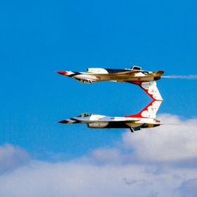 The United States Air Force Air Demonstration Squadron, Thunderbirds, demonstrate the calypso pass during the 2010 Wings Over Houston Airshow.  T...