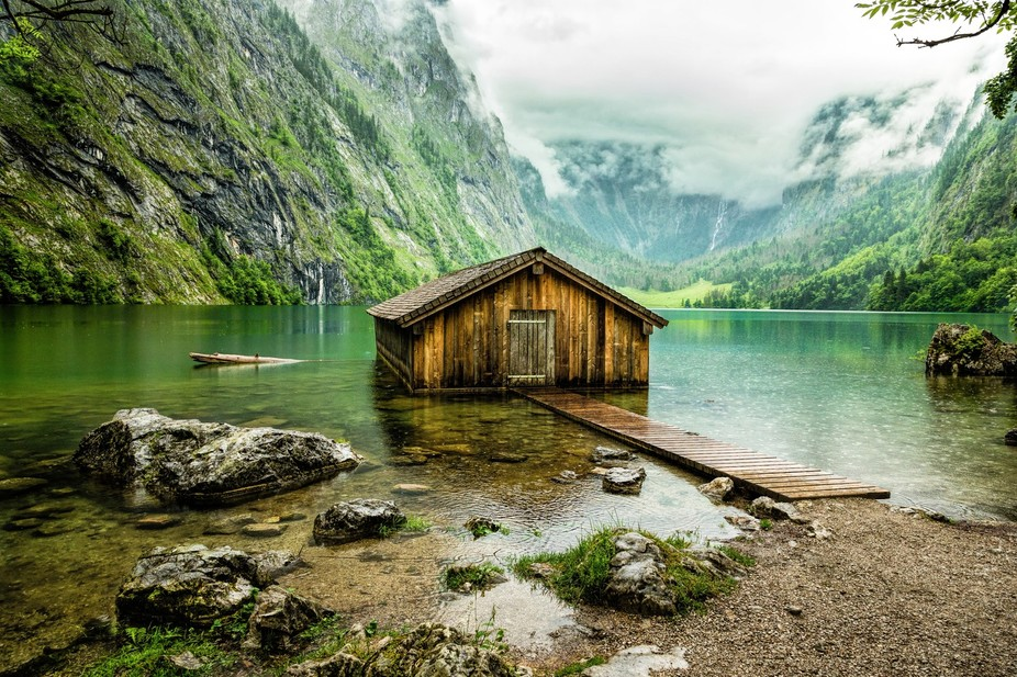 """The """"Upper lake"""" is placed in the southeast of Bavaria, in the Berchtesgaden National P..."""