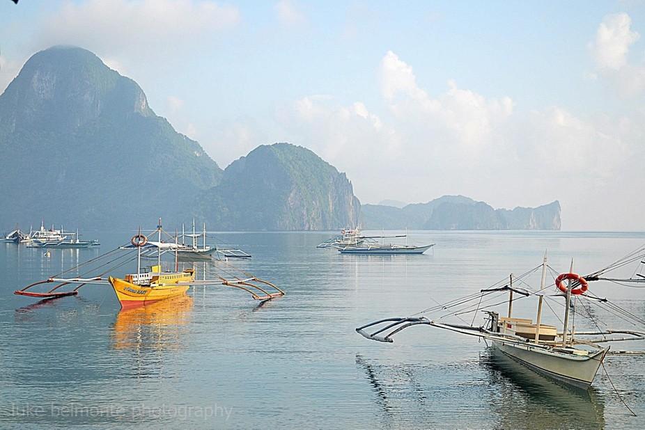 """floating boats greeted me """"good morning"""" in El Nido, Palawan"""