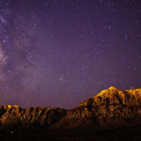 Night exposure of the Milky Way outside Red Rock Canyon Park in Las Vegas, NV