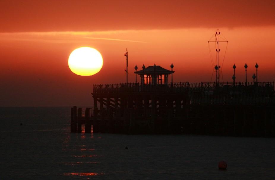 sunrise over Swanage pier