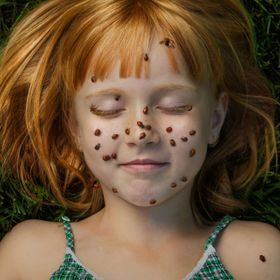 Playing with the idea of freckles and the fact that we call her KaeyaBug.  Yes, the ladybugs are real.
