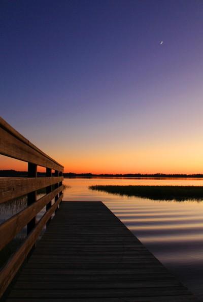 Lake,Dock,Moon