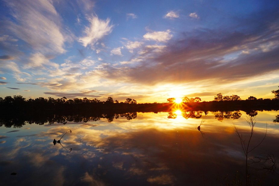 Goulburn Weir Victoria at sunset on Sony.  f/ 22, 1/20, ISO 200. 2014