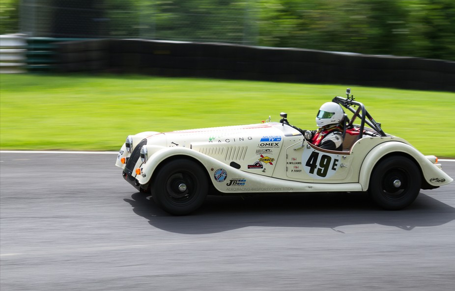 Classic Morgan racing at Cadwell Park.