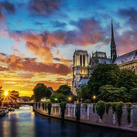 Notre-Dame in Paris at sunset