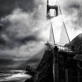 Mist covers the Golden Gate Bridge in San Francisco