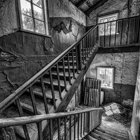 An old church stairwell in Romny, Ukraine.