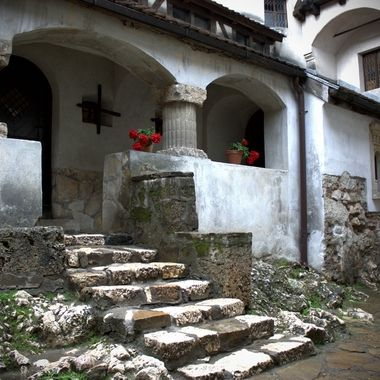 A portion of Bran's (Dracula's) castle courtyard in Romania.