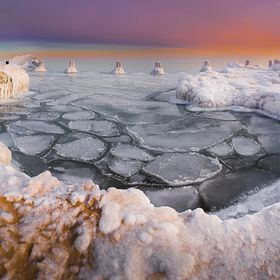 Chicago Michigan lake chained in ice and snow on polar vortex that hit this area with sub zero temperatures.