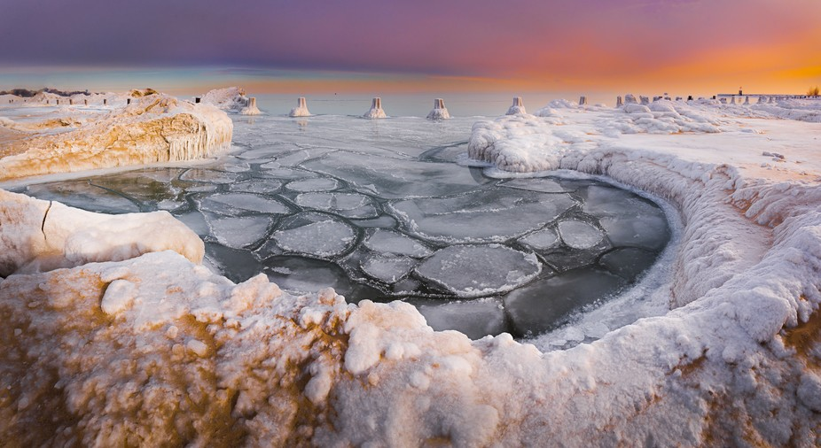 Chicago Michigan lake chained in ice and snow on polar vortex that hit this area with sub zero te...