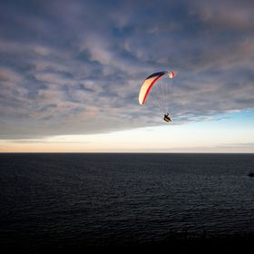 Paragliding at the south coast of Sweden a lovely summer evening.