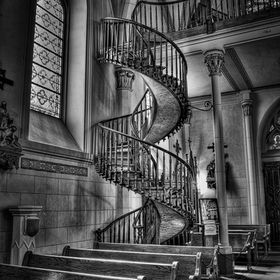 The historic miraculous staircase inside the Loretto Chapel in Santa Fe, New Mexico.