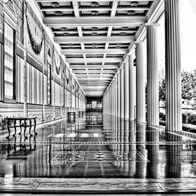 I made this image capture at the Getty Villa located in Malibu California.  I had to lay on my back with my camera resting on my chest to get thi...
