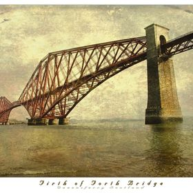 Copper toned travel postcard style photo manipulation of the Firth of Forth rail bridge in Queensferry Scotland