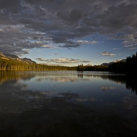 Golden hour at Island Lake, Banff National Park AB