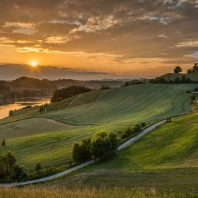 Late spring sunset over the Pernica lake, Slovenia