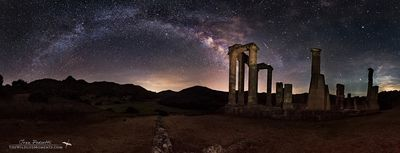 Temple milky way and meteor
