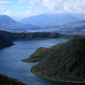 The blue water of the volcanic crater lake, Lake Cuicocha, near Cotacachi, Ecuador