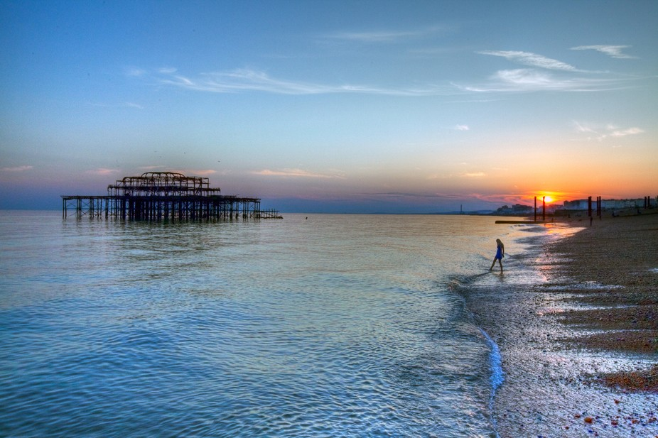 West Pier in Brighton on a summers evening.