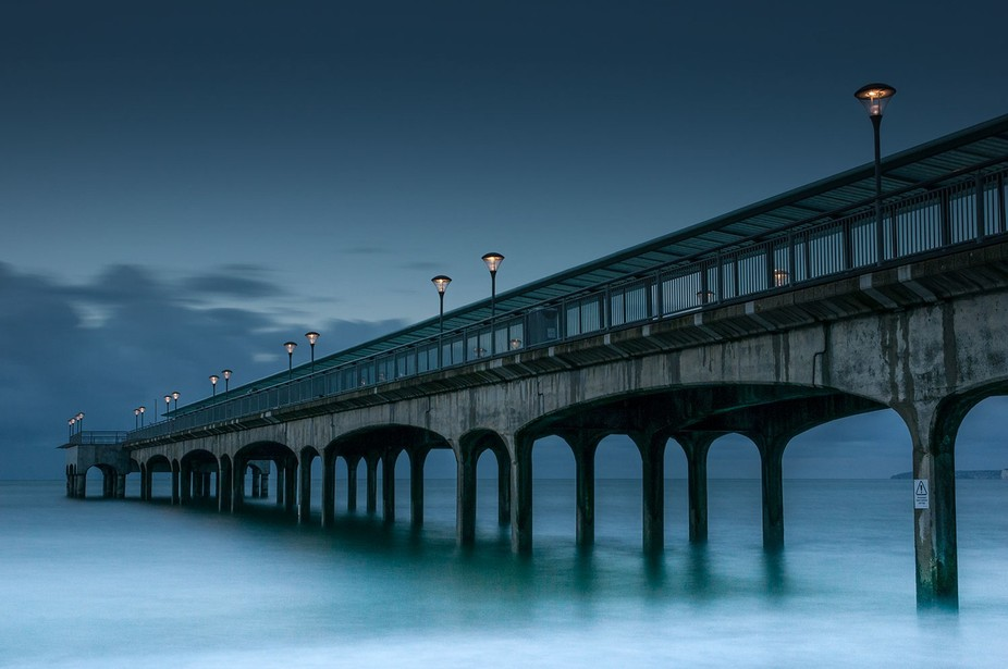 Bournmouth Pier, England at the Blue Hour