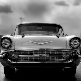 A fine art b&w image of the Classic 57 Chevy.