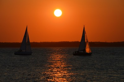 TWO BOATS SAILING BACK TO COWES,ISLE OF WIGHT