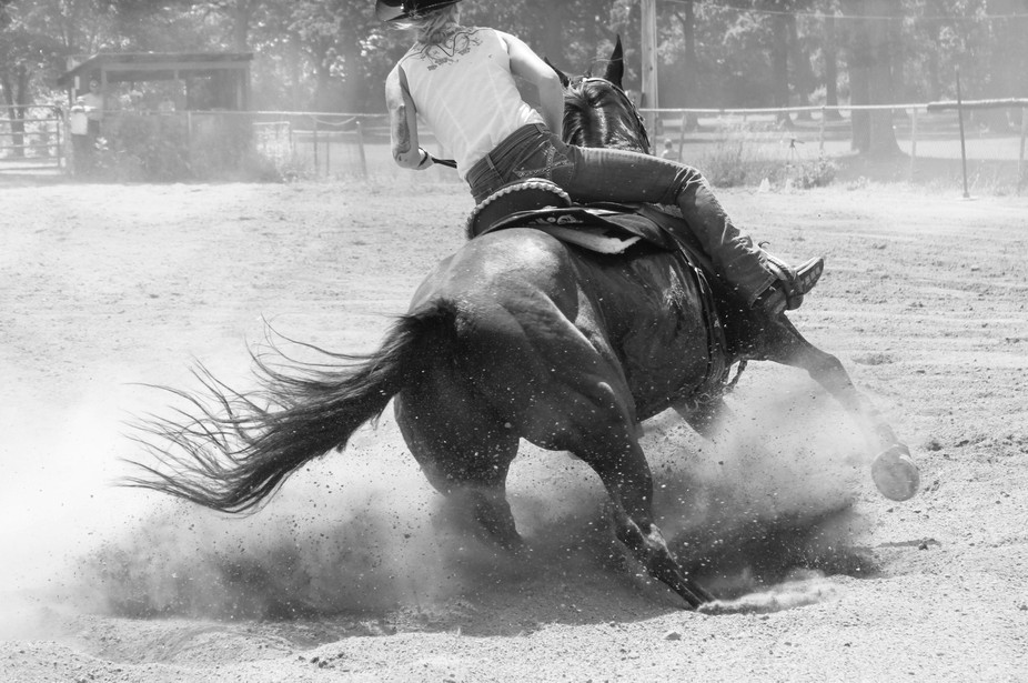 A barrel racer caught in the action of beginning a turn around a barrel.
