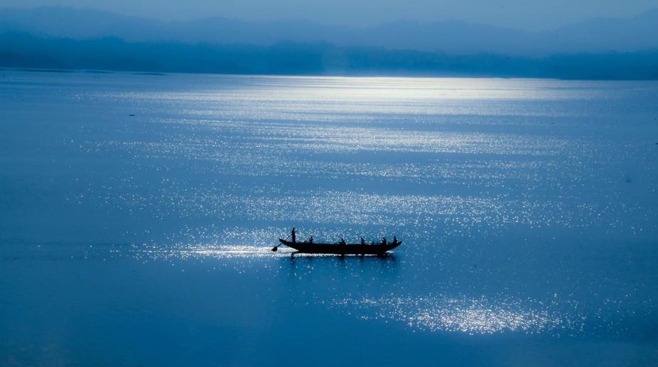 During the sunrise at Kaptai Lake, Rangamati, Bangladesh.