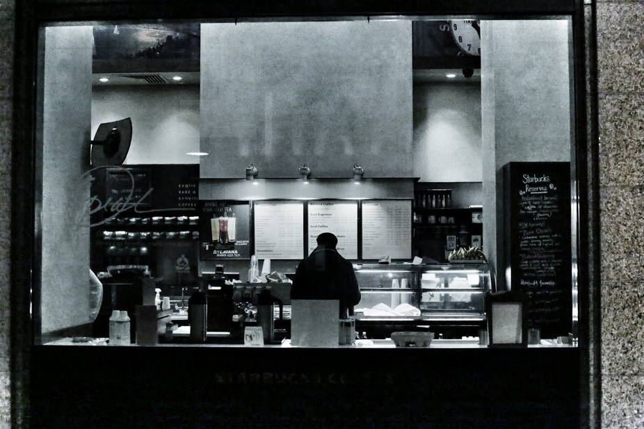 Playing with high ISO settings - Starbucks through the window late at night