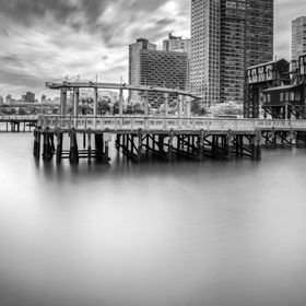Long exposure of Long Island City's shores during tropical storm Arthur on July 4th