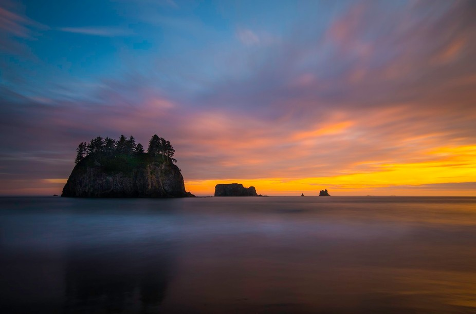 Long exposure sunset at Second Beach in coastal Washington. We were fortunate to have nice cloud ...