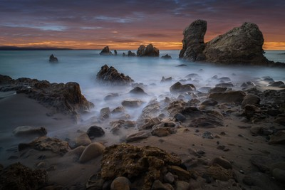 Sunset After Glow at a Rocky Southern California Beach