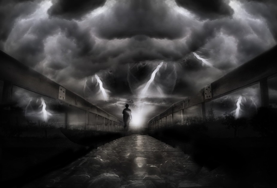 And when the darkness comes<BR> Emotions, like angry clouds, surround <BR> Echoing ru...
