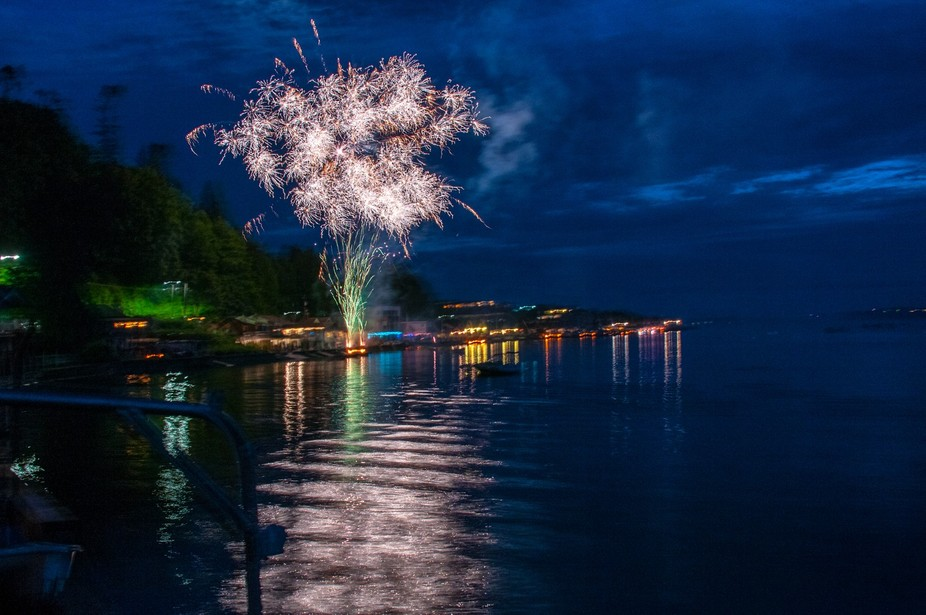 Fireworks over the water at Camano Island, Washington State.
