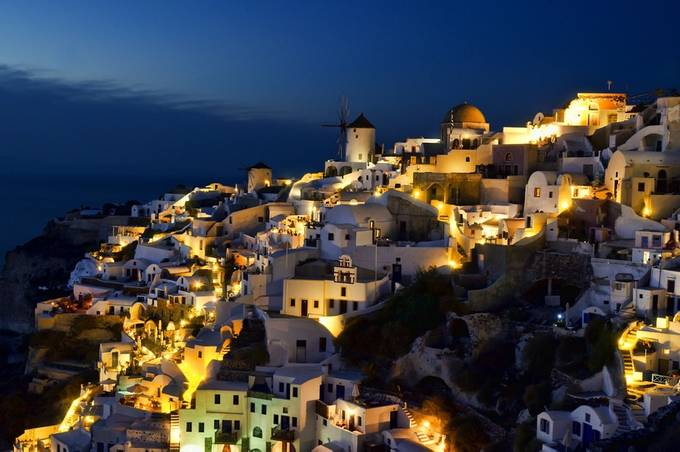 Night at Oia, Santorini by raymondwee - Our World At Night Photo Contest