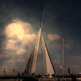 The new Twin Sails Lifting Bridge In Poole Dorset, with Moon added for impact.