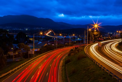 Light Trails Tasman Bridge