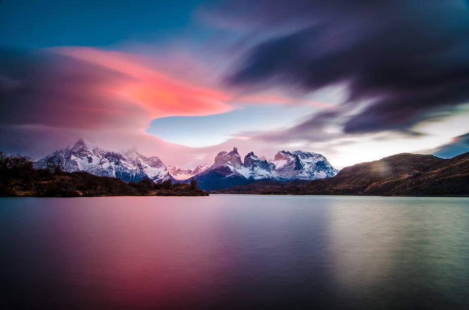 """A beautiful landscape from """"Cuernos del Paine"""" at the Chilean Patagonia, into the """"..."""