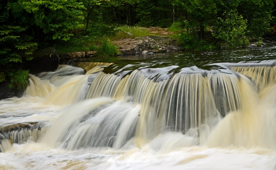 This is a photo of one of the many cascades in the 400 feet of Bond Falls, located in Paulding, M...