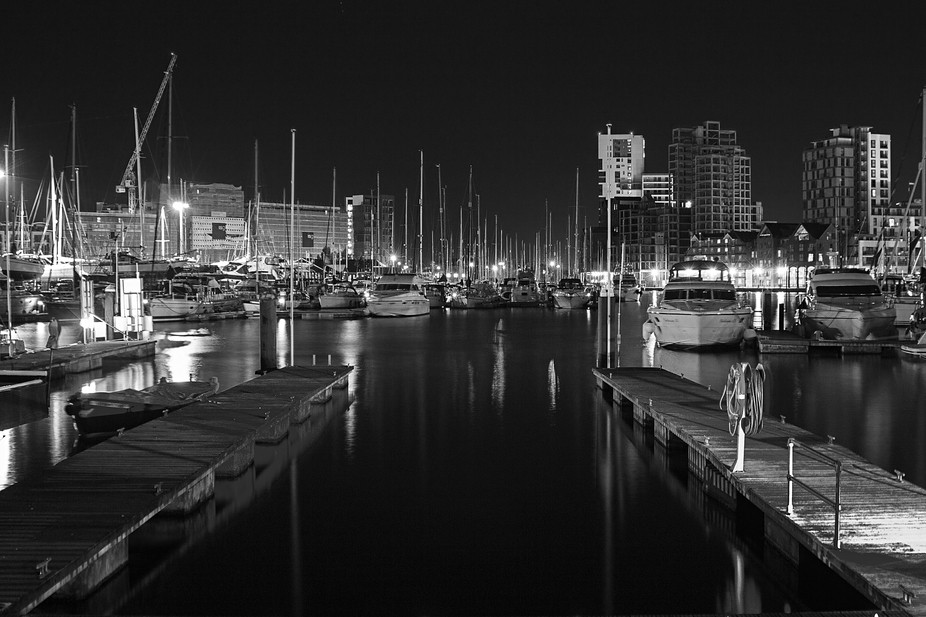 Ipswich Dock, England at midnight. The dock is being developed and it seems to be bringing in the...