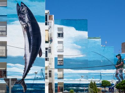 Fishing Day Mural by Jose Fernandez Rios in Estepona