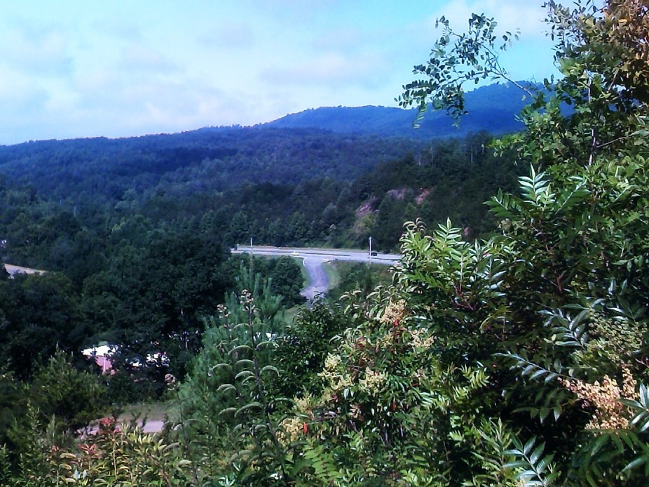 view from top where once Cherokee town of Tomatla held as ceremonial grounds showing distant mode...