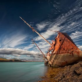 This old wreck is very photogenic and is one of my favorite here in Iceland.  It is located at very small island, which is very near the town Sty...
