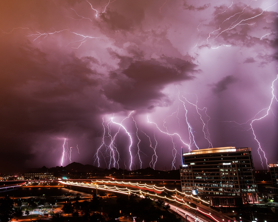A 12 image composite of 25 minutes of lightning storm over Phoenix, AZ.