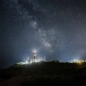 The Milky Way as seen over the Montauk Point Lighthouse on a clear summer night.