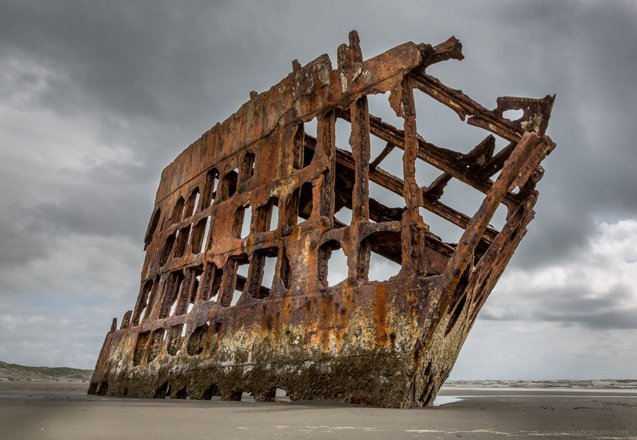 Wreck remains of the Peter Iredale at Fort Stevens, Astoria, OR  © www.nomadicshutter.com