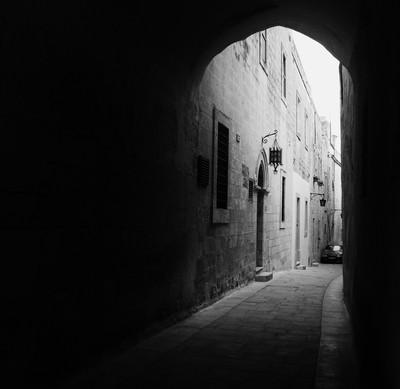 Lantern through the arch.