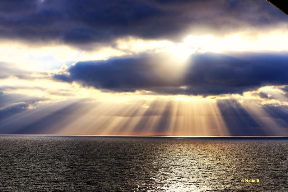 Sunset while aboard a cruise ship ...