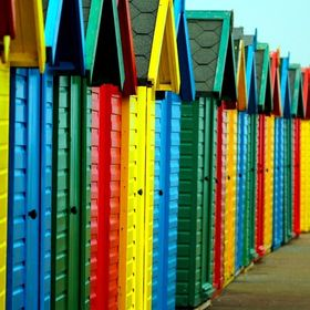 A section of beach huts along the Whitby sea front